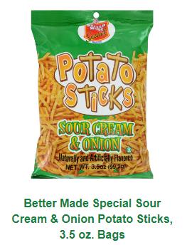 Better Made Sour Cream & Onion Potato Sticks 3.50oz bag