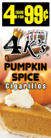 4 Kings Pumpkin Spice Cigarillos 4 for 99 / 60ct