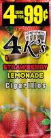 4 Kings Strawberry Lemonade Cigarillos 4 for 99 / 60ct