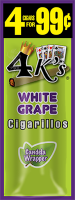 4 Kings White Grape Cigarillos 4 for 99 / 60ct