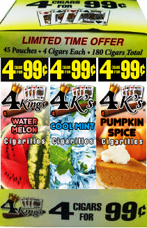 4 Kings Watermelon-Cool Mint-Pumpkin Spice 180 cigars