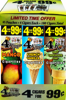 4 Kings Mango-French Vanilla-Mint Chocolate Chip 180 cigars
