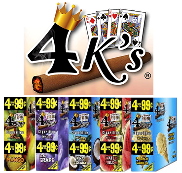 4 Kings Cigarillos - Mint Chocolate Chip - Cool Mint - Pumplin Spice - Napa Grape - Pina Colida - Sweet Delicious - Mango - French Vanilla - Watermelon 60 cigars