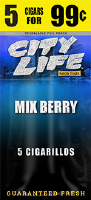 City Life Mixed Berry Cigarillos 15/5 (75 cigars)
