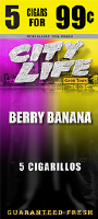 City Life Berry Banana Cigarillos 15/5 (75 cigars)