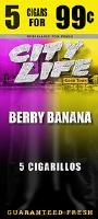 City Life Berry Banana Cigarillos 15/5 (75 cigars)