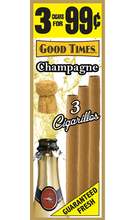 Good Times Champagne Cigarillo Cigars Foil Pouch 3 for 99 - 45 cigars