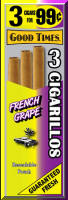 Good Times French Grape Cigarillo Cigars Foil Pouch 3 for 99 - 45 cigars