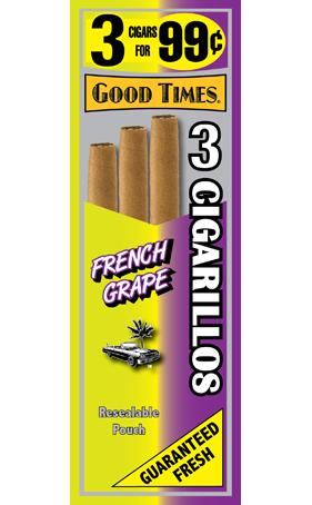 Good Times French Grape Cigarillos 15/3's - 45 cigars