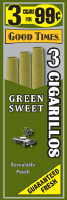 Good Times Green Sweet Cigarillo Cigars Foil Pouch 3 for 99 - 45 cigars