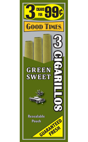 Good Times Green Sweet Cigarills 3 for 99 - 45 cigars