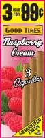 Good Times Raspberry Cream Cigarillo Cigars Foil Pouch 3 for 99 - 45 cigars