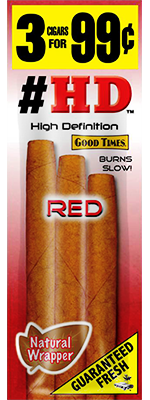 Good Times HD Red Cigarillo Cigars Foil Pouch 3 for 99 - 45 cigars