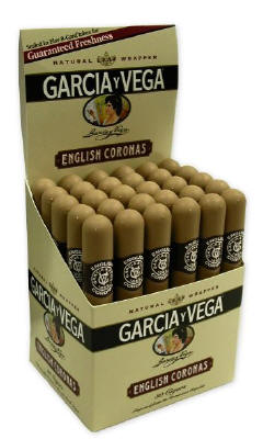 Garcia y Vega English Corona Cigars 30ct in Plastic Tubes Upright Box