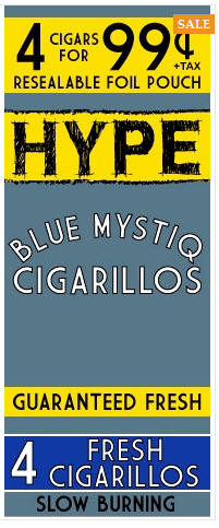 Hype Blue Mystiq Cigarillos 15/4's - 60 cigars
