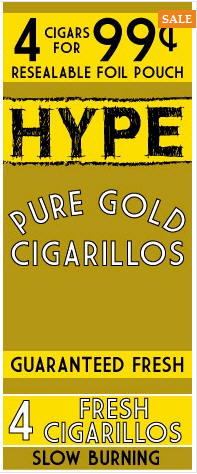 Hype Pure Gold Cigarillos 15/4's - 60 cigars