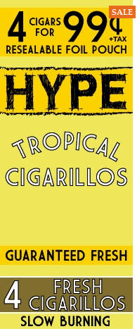 Hype Tropical Cigarillos 15/4's - 60 cigars