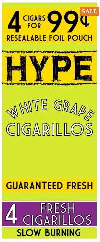 Hype White Grape Cigarillos 15/4's - 60 cigars