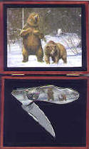 Bear Knife Set in Wood Display Box