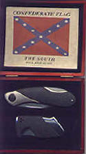 Confederate Flag Knife Set in Wood Display Box