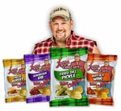 Larry the Cable Guy Potato Chips Cheese Burger - Chili Cheese Fries - Bacon Ranch - Hollar-Peno - Cheese Burger - BBQ Rib 3oz bags - 12 bags per case