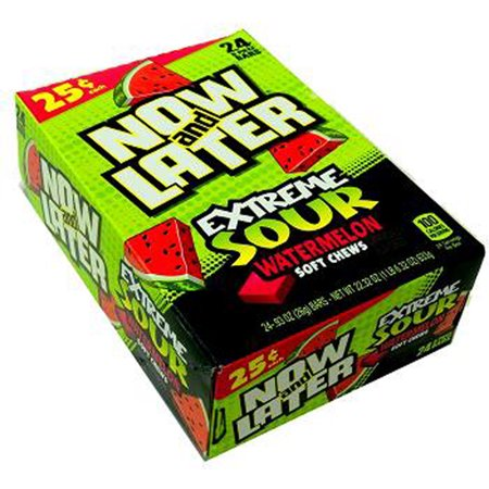 Now and Later Extreme Sour Watermelon Candy 24ct boxes