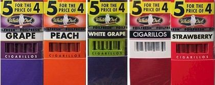 White Owl Grape - White Grape - Peach Cigarillos Pack Buy 40 Get 10 Free