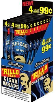 Zig Zag Blueberry Rillo Size Cigar Wraps 15/4's - 60 wraps