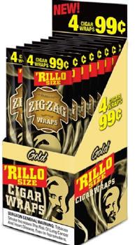 Zig Zag Gold Rillo Size Cigar Wraps 15/4's - 60 wraps