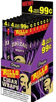 Zig Zag Grape Rillo Size Cigar Wraps 15/4's - 60 wraps