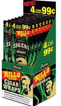 Zig Zag Green Rillo Size Cigar Wraps 15/4's - 60 wraps