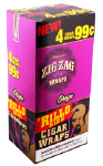 Zig Zag Grape Rillo Size Cigar Wraps 15/4's - 60 wraps