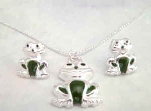 Frog Necklace and Earring Set