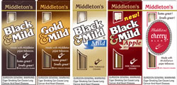 Black & MildCigars -  Mild - Black Mild Apple - Black Mild Gold Mild - Black Mild Cherry Blend - Black Mild Cream Vanilla - Black Mild Wine - Black Mild Fast Break - Black Mild Fast Break Apple - Black Mild Fast Break Mild - Black Mild Filter Tip 10/5's Packs Uprights